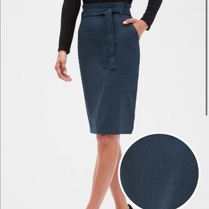 Washable blue plaid tie waist pencil skirt